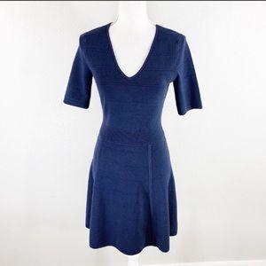 Ann Taylor Navy Blue knit v-neck flare dress